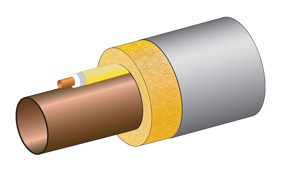 metallic tracer tube covered with composite materials