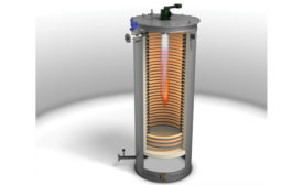 Single Helical Coil Thermal Fluid Heater Allows for Two Passes of Flue Gases