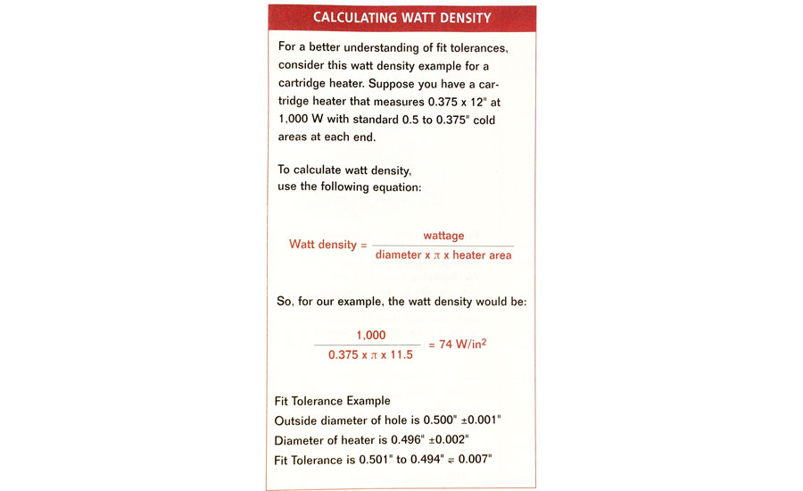 equation to calculate watt density rating of industrial heat source