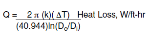 Calculating Heat Loss from Industrial Systems to determine heat tracing