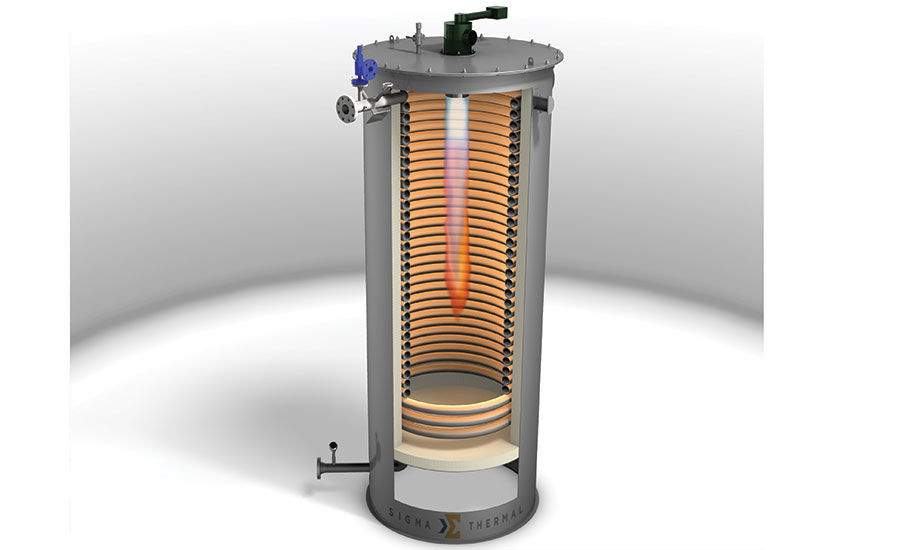 Single helical coil thermal fluid heater allows for two