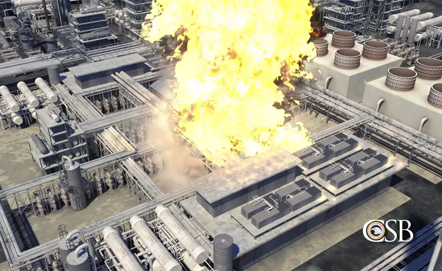 US Chemical Safety Board Baton Rouge Exxon Mobil Refinery Explosion animation