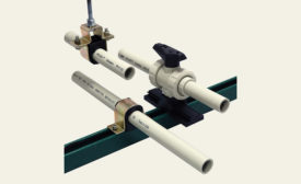 Pipe and valve support system from GF Piping Systems.