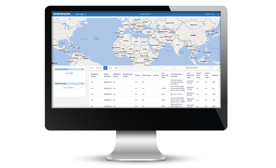 Real-time cold chain monitoring portal from Emerson.